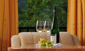 Doppelzimmer, Blick aus dem Fenster, Weinfalsche mit Gläsern und Weintrauben am Tisch davor.